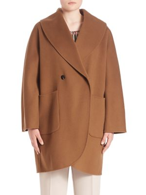 Double Pocket Oversized Virgin Wool Trench Coat plus size,  plus size fashion plus size appare
