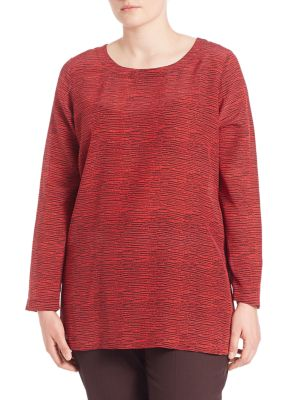 Crepe De Chine Printed Silk Blouse plus size,  plus size fashion plus size appare