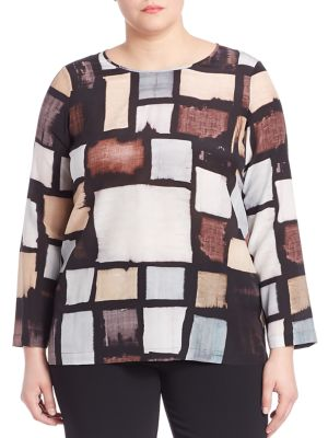 Geometric Patterned Silk Blouse plus size,  plus size fashion plus size appare