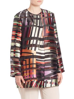 Falena Multi Line Print Jacket plus size,  plus size fashion plus size appare