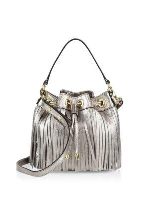 Essex Fringe Small Metallic Leather Drawstring Bag