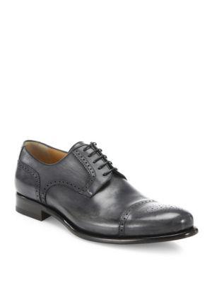 Leather Cap-Toe Lace-Up Shoes