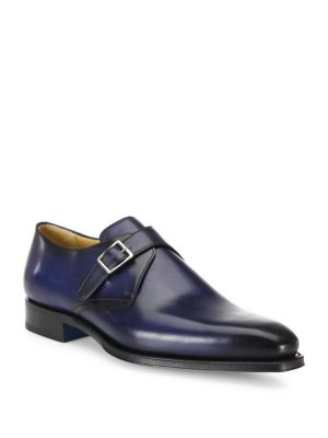 Single Monk Strap Leather Derby Shoes