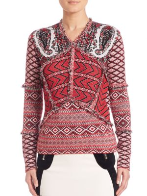 Printed V-Neck Sweater