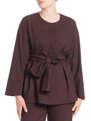 Collarless Tie-Waist Jacket plus size,  plus size fashion plus size appare