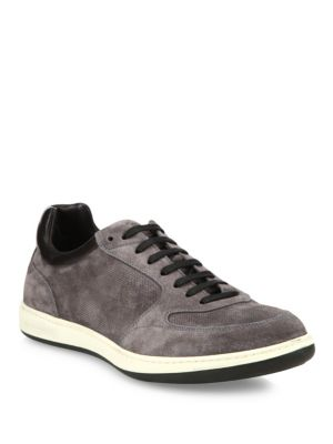 Suede & Calf Leather Low Top Sneakers