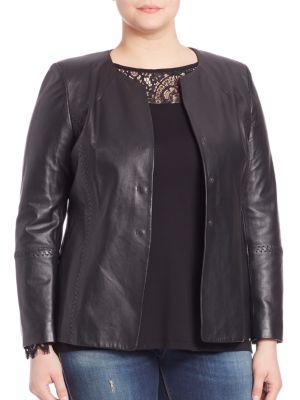 Collarless Leather Jacket plus size,  plus size fashion plus size appare