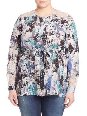 Painterly Lace Silk Blouse plus size,  plus size fashion plus size appare