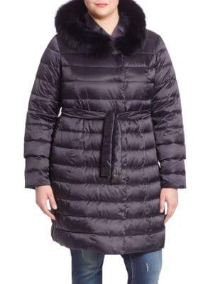 Fox Fur-Trim Tie-Waist Down Puffer Jacket plus size,  plus size fashion plus size appare