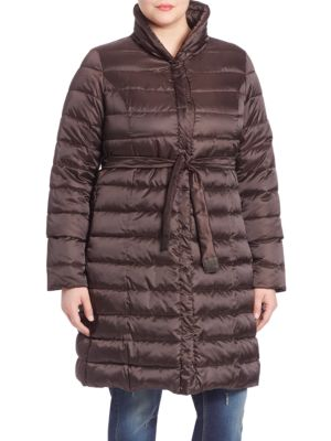 Belted Down Puffer Coat plus size,  plus size fashion plus size appare