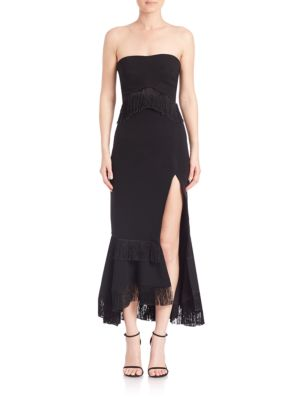 Crepe Bandeau Silk Slit Dress