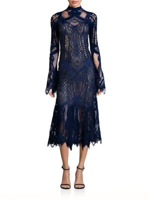 Mockneck Lace Flare Dress