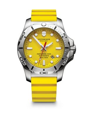 INOX Professional Diver Stainless Steel & Leather Strap Watch