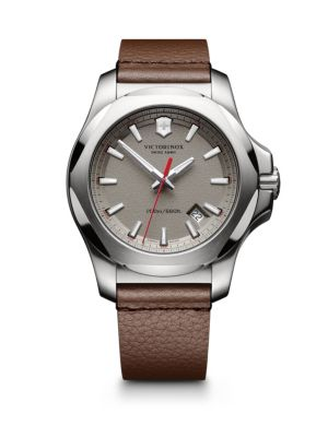 INOX Stainless Steel & Leather Textured Dial Strap Watch