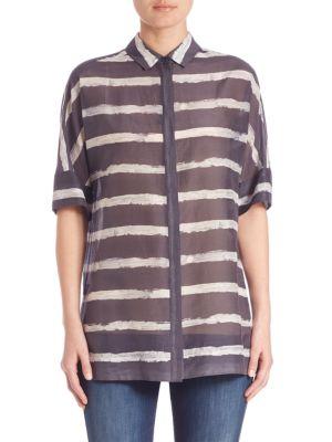 Striped Cotton & Silk Blouse plus size,  plus size fashion plus size appare