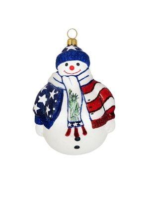 Glitterazzi Land of the Free Snowman Ornament
