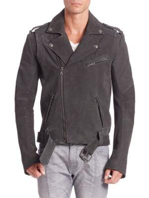 Asymmetrical Zip-Front Leather Jacket