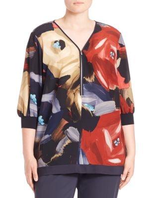 Printed V-Neck Blouse plus size,  plus size fashion plus size appare