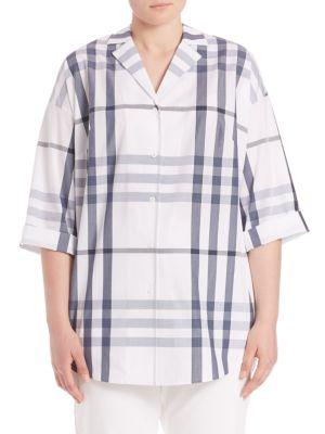 Analeigh Cotton Plaid Blouse plus size,  plus size fashion plus size appare