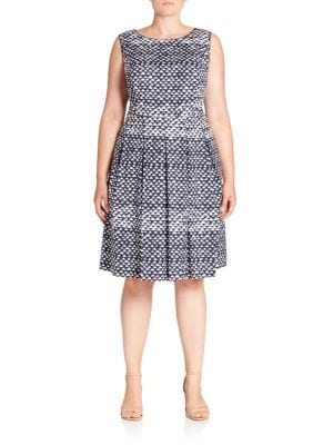 Zoe Stretch-Cotton Triangle-Print Dress plus size,  plus size fashion plus size appare
