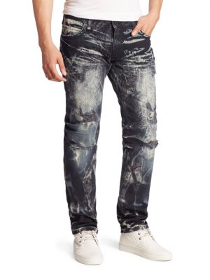 Distressed Cotton Slim-Fit Jeans