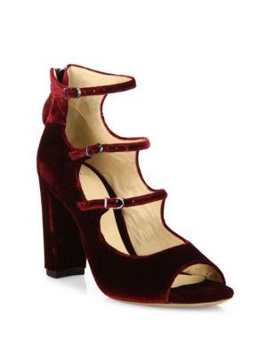 Velvet Mary Jane Block-Heel Sandals