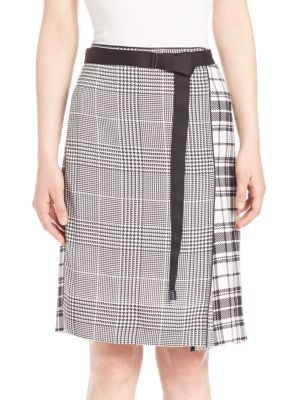 Runway Houndstooth & Plaid Silk Skirt