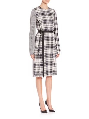 Multi Plaid Belted Long-Sleeve Dress
