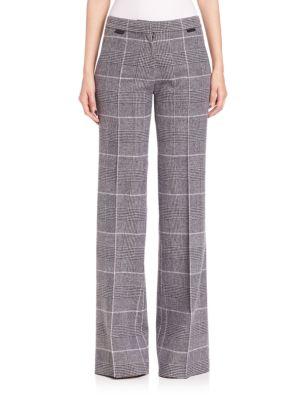 Runway Plaid Wool Wide-Leg Pants plus size,  plus size fashion plus size appare