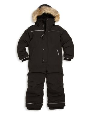 Toddler's & Little Boy's Grizzly Fur Trim Down Snowsuit