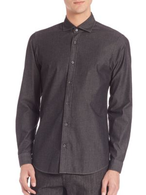 Slim-Fit Spread Collar Shirt