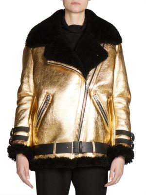Oversized Metallic Shearling Moto Jacket