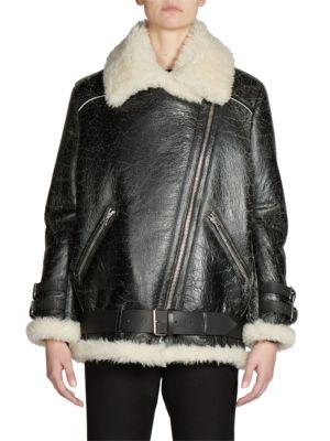 Shearling & Leather Oversized Vintage Moto Jacket