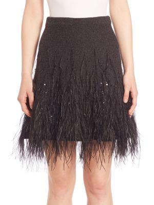 michael kors female 217293 sequin embellished fringed skirt
