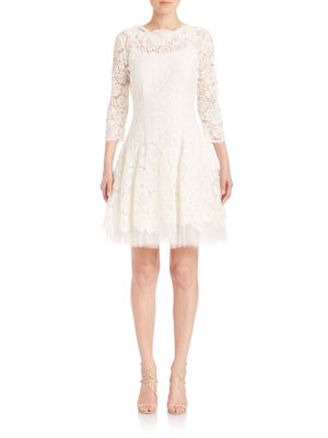 Solid Lace Scalloped Boatneck Dress