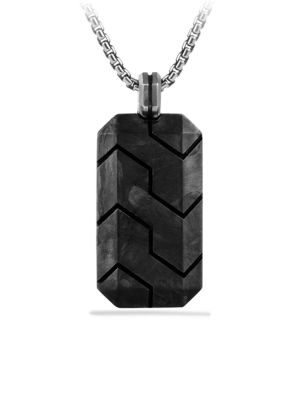 Forged Carbon & Sterling Silver Tag