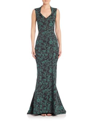Floral Print Mermaid Gown