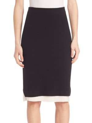 Aimee Merino Wool & Silk Pencil Skirt plus size,  plus size fashion plus size appare