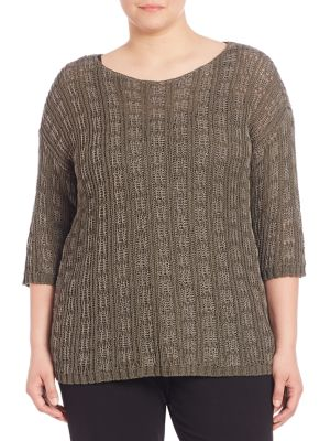 Boatneck Organic Cotton & Linen Sweater plus size,  plus size fashion plus size appare