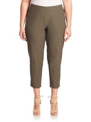 Solid Cropped Pants plus size,  plus size fashion plus size appare