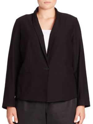Solid Button-Front Blazer plus size,  plus size fashion plus size appare