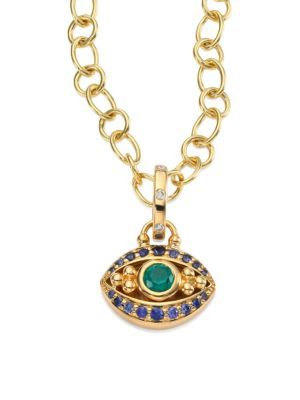 Evil Eye Diamond, Emerald, Blue Sapphire & 18K Yellow Gold Pendant