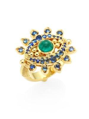 Evil Eye Lash Diamond, Blue Sapphire, Emerald & 18K Yellow Gold Ring