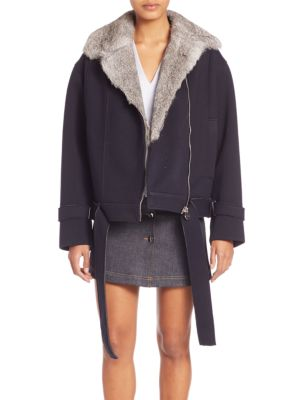 Fur-Trim Short Coat plus size,  plus size fashion plus size appare