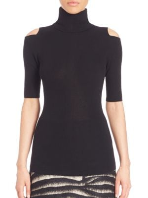 Perey Wool & Cashmere Cold-Shoulder Turtleneck Sweater