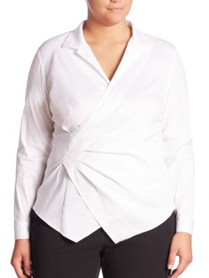 Odetta Italian Stretch Cotton Ruched Blouse plus size,  plus size fashion plus size appare