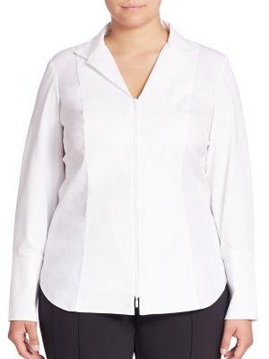 Aiden Zip Front Blouse plus size,  plus size fashion plus size appare