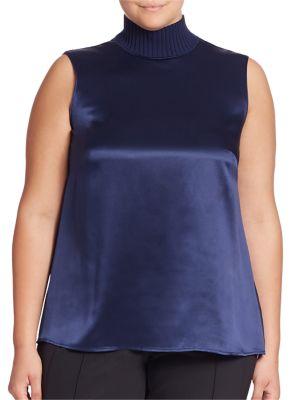 Bonita Silk Charmeuse Turtleneck Blouse plus size,  plus size fashion plus size appare