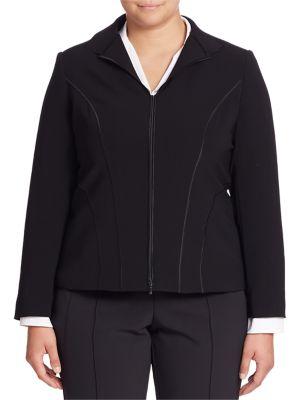 Long Sleeve Zipper Jacket by Lafayette 148 New York, Plus Size