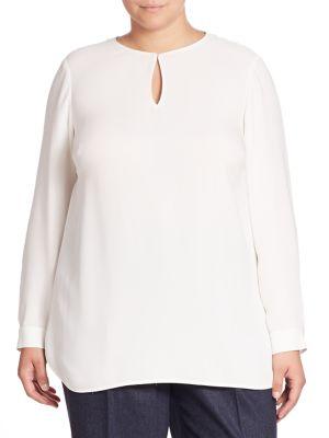 Cyrus Silk Double Georgette Blouse plus size,  plus size fashion plus size appare